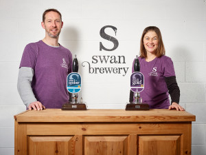 Swan Brewery's Jimmy Swan and Gill Bullock at the bar